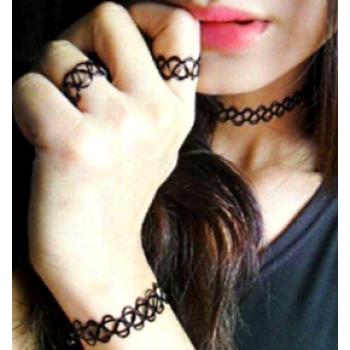 Tattoo Choker Elastik Bileklik Yüzük 127713